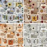 Mechanical pattern set. Mechanical colored seamless pattern set stock illustration