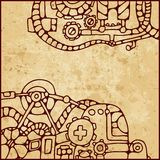 Mechanical pattern. Vintage background with elements of different mechanisms Stock Image