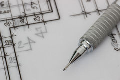 Mechanical pencil on drawing Royalty Free Stock Images