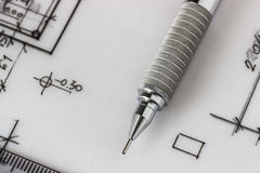 Mechanical pencil on drawing Stock Photo
