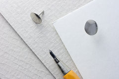 Mechanical pencil and drawing pin Stock Photography