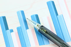Mechanical pencil point to bar graph. Stock Image