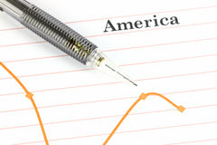 Mechanical pencil point to dot on America graph. Royalty Free Stock Image