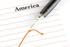 Mechanical pencil point to dot on America graph. Stock Photo