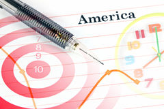 Mechanical pencil point to dot on America graph. Stock Photography