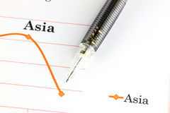Mechanical pencil point to dot on Asia graph. Royalty Free Stock Image