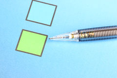 Mechanical pencil point to Green Checkbox Stock Photography