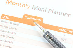 Mechanical pencil point to Meal Planner graph. Stock Photography
