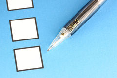Mechanical pencil point to white Checkbox Stock Photo