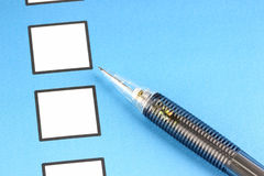 Mechanical pencil point to white Checkbox Royalty Free Stock Image