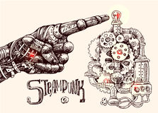 Mechanical pointing finger. Hand drawn vector illustration mechanical hand with pointing finger. Steampunk style. Ink drawing Royalty Free Stock Photos