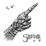 Mechanical pointing finger. Hand drawn vector illustration mechanical hand with pointing finger. Steampunk style. Ink drawing Stock Photo