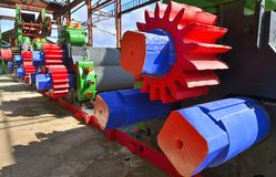 Mechanical press. Machine for getting juice from sugar cane mill. Stock Photography