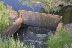 Mechanical purification of waste water in the lake Royalty Free Stock Photos