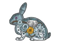 Mechanical rabbit animal color sketch engraving. Mechanical Hare rabbit animal color sketch engraving vector illustration. Scratch board style imitation. Black royalty free illustration
