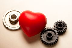 Mechanical ratchets and heart Royalty Free Stock Photography