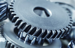 Mechanical ratchets. Metal gears and mechanical ratchets royalty free stock photography