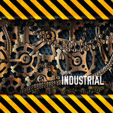 Mechanical realistic rusty gears attention behind danger warning attention tape. Vector illustration design concept Stock Image