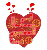 mechanical red heart with gears and tubes Royalty Free Stock Photography
