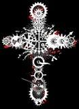 Mechanical religion cross stock image
