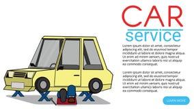 Mechanical repair under car. Flat vector illustration royalty free illustration