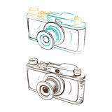 Mechanical retro camera made in the thumbnail style Stock Image