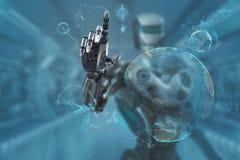 Mechanical robotic arm touching virtual hud screen interface Stock Photography
