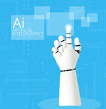 Mechanical Robotic Hand pointing on  circuit board Background Stock Photography