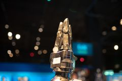 Mechanical robotic pincer at the OMSI robot exhibition. royalty free stock images
