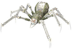Mechanical Robot Steampunk Spider Isolated. A mechanical robot steampunk spider. The insect is a machine. Isolated on white royalty free stock image