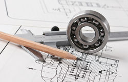 Mechanical scheme and  bearing Royalty Free Stock Photos