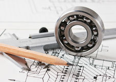 Mechanical scheme and  bearing. Mechanical scheme and calipers with bearing Stock Images