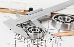Mechanical scheme and  bearing Royalty Free Stock Images