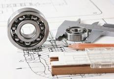 Mechanical scheme and  bearing Stock Image