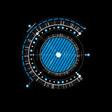 Mechanical scheme, blue vector engineering drawing with circles Stock Photography