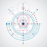 Mechanical scheme, blue vector engineering drawing with circles vector illustration