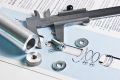 Mechanical scheme and calipers Stock Images