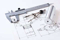 Mechanical scheme and calipers Royalty Free Stock Image