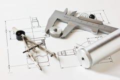 Mechanical scheme and calipers Stock Photos