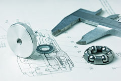 Mechanical scheme and calipers Royalty Free Stock Photography