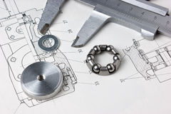 Mechanical scheme and calipers Royalty Free Stock Photos