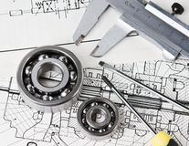 Mechanical scheme and calipers Stock Photography