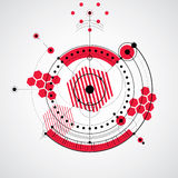 Mechanical scheme, red vector engineering drawing with circles a Stock Photography