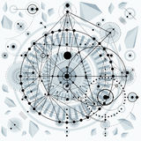 Mechanical scheme, vector engineering drawing with geometric par Stock Images