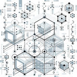 Mechanical scheme, vector engineering drawing with geometric par. Ts of mechanism. Futuristic industrial project can be used in web design and as wallpaper Royalty Free Stock Photo