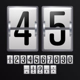 Mechanical Scoreboard Vector. Silver Timetable With Black Numbers. Analog Clock. Mechanical Scoreboard Vector. Silver Timetable With Black Numbers Royalty Free Stock Photos