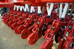 Mechanical seed drill. Approach of a new seeding machine at an exhibition royalty free stock photography