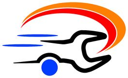 Mechanical service logo. Isolated line art mechanical service logo stock illustration
