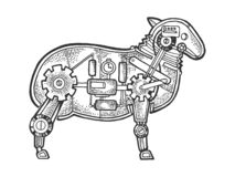 Mechanical sheep ewe animal sketch engraving. Vector illustration. Scratch board style imitation. Black and white hand drawn image vector illustration