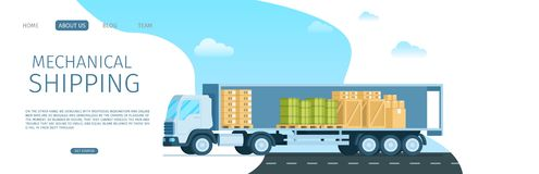 Mechanical Shipping Open Truck Full of Package. Delivery Van with Goods, Green Tank, Cardboard and Wooden Box. Modern Warehouse Distribution Transport. Flat stock illustration
